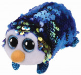 Jucarie de plus TY 10 cm Teeny TYS Payton Pinguin albastru cu paiete