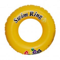 Colac gonflabil inot pentru copii, 70 cm, imprimeu litere ABCD, galben