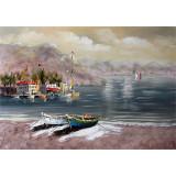 Priveliste cu un lac - pictura in ulei OP-13, Peisaje, Realism