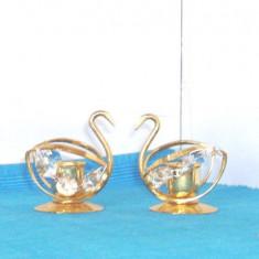 Sfesnice alama placata cu aur 24K, cristale Swarovski - Lebede - Lovsjo, Suedia