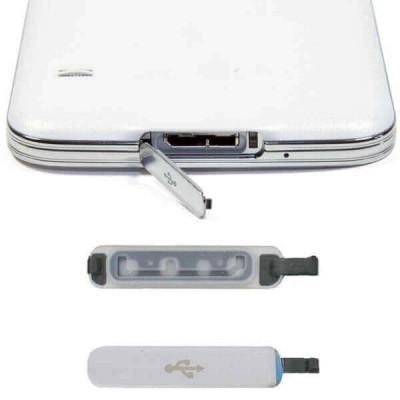 Capac incarcare usb Samsung Galaxy S5, dop mufa port protectie telefon, argintiu foto
