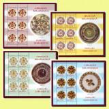 2007 Romania, Farfurii taranesti I, blocuri de 6 timbre cu manseta LP 1759 a MNH, Arta, Nestampilat