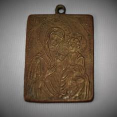 Iconita din cupru / Icoana Maica Domnului - perioada interbelica
