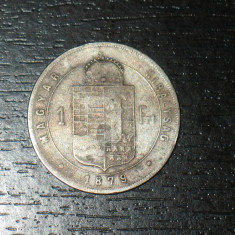 Moneda argint 1 forint Ungaria 1879, stare buna