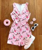 Cumpara ieftin Pijama dama scurta tip salopeta roz fara maneci cu nasturi si imprimeu Icecream