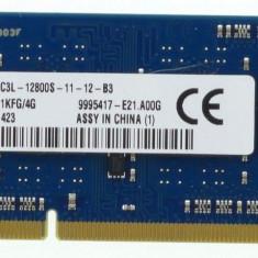 Memorie Sodimm Kingston 4Gb DDR3 1600Mhz PC3L-12800S,1.35V, asu16d3ls1kfg/4g