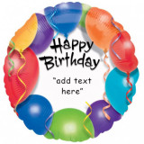 Balon folie 45 cm Happy Birthday Personalizabil FTB050
