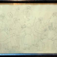 Constantin Piliuță - La carciuma - Lucrare inramata semnata 31/41 cm, Scene gen, Cerneala, Altul