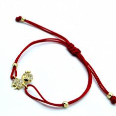 Bratara cu snur rosu si pandantiv aur 14K, cu pietre Zirconia, cod produs 179743