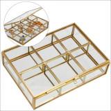 Cutie sticla pentru bijuterii 6 compartimente 50 x 54 x 38 mm