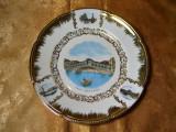 Platou centru masa portelan Italia, aur 24K, colectie, cadou, vintage