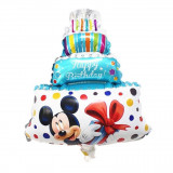 Balon folie Mickey Mouse, forma tort, mesaj Happy Birthday, 80 cm, PRC