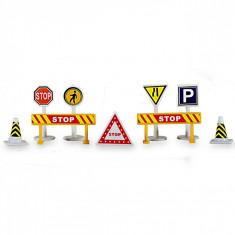 Set 10 indicatoare rutiere de jucarie, multicolor