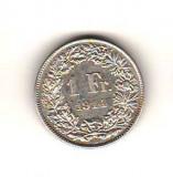 SV * Elvetia 1 FRANC 1914 B * ARGINT .835 AUNC, Europa