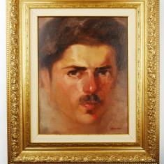 Tablou pictura Portret barbat - Sever Burada ulei semnat carton