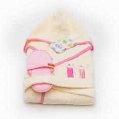 Halat de baie copii 10-12 ani Valentini Bianco crem cu margine roz