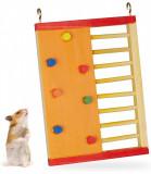 Jucarie interactiva pentru hamster, Lemn, Multicolor