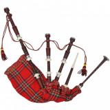 Great Highland cimpoi scoțian din tartan Royal Steward, roșu
