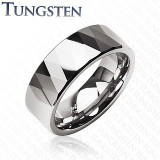 Inel argintiu din tungsten - romburi și triunghiuri lucioase - Marime inel: 69
