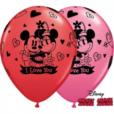 "Baloane latex 11""/28cm inscriptionate Mickey & Minnie Mouse, Qualatex 23186, Set 25 buc"