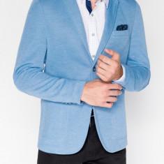 Sacou pentru barbati bleu casual slim fit cu buzunare aplicate elegant inchidere doi nasturi M80