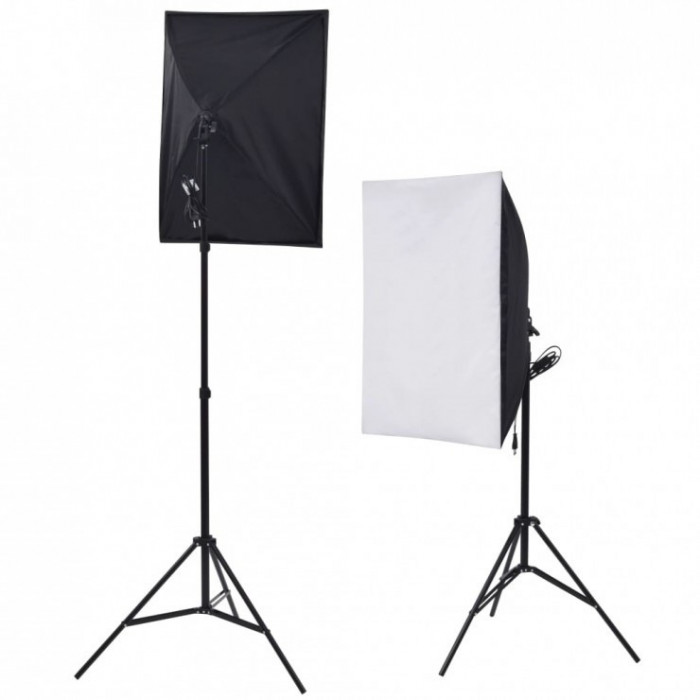 Kit lumina continua foto-video 2x stativ 250cm+2x softbox cu fasung 40x60cm+2x bec 85W