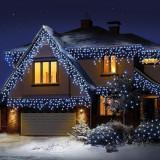 Instalatie tip plasa efect ploaie 0.5x6 m, 400 LED-uri, alb rece, 8 moduri iluminare