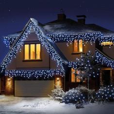 Instalatie tip plasa efect ploaie 1x6 m, 400 LED-uri, alb rece, 8 moduri iluminare