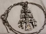 MEDALION argint CRUCE CRUCIFIX ORTODOXA de colectie RAR exceptional +Lant argint