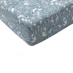 Cearsaf bumbac cu elastic, 90 x 200 cm, Bleu/Alb