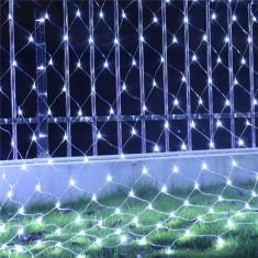 Instalatie de Craciun Tip Plasa Fir Transparent 1,5 m X 1,5 m 120 Leduri Alb Rece 2809W