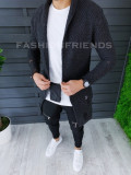 Cardigan barbati gri inchis slim fit ZR T3557