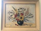 Tablou vechi,pictura germana in ulei tehnica spaclu,flori in vaza