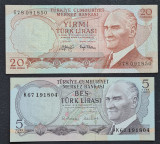 Turcia 5 20 lire lirasi 1970