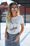 Tricou SunShine alb casual cu croi larg cu maneca scurta cu aplicatii cu paiete