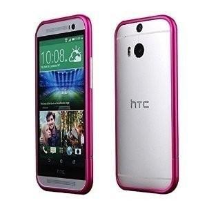 Bumper Aluminiu Slim HTC One M8 Roz Pink Husa Protectie Laterala