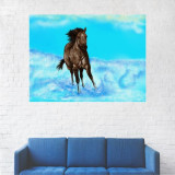 Tablou Canvas, Cal Negru Alergand - 80 x 100 cm