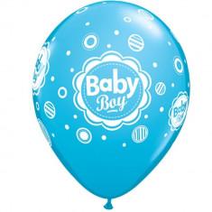 "Baloane latex 11""/28 cm inscriptionate Baby Boy , Qualatex 44107"