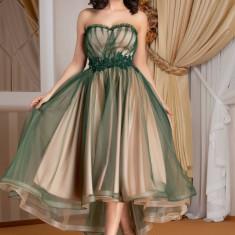 Rochie LaDonna cu tull verde si broderie in talie