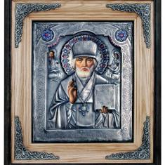 Icoane argintate, Icoana Sfantul Nicolae, dim 34cm x 38 cm, cod A-05