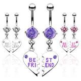 Cumpara ieftin Set de piercing-uri pentru buric – inimă ruptă cu inscripţia BEST FRIEND - Culoare Piercing: Ametist