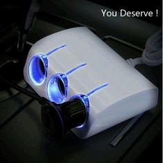 Adaptor Priza bricheta auto 3 Porturi Luminare LED Albastru Olesson