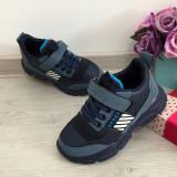Adidasi albastri cu scai ghete pt copii baieti 25 27