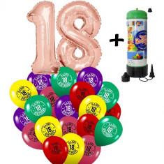 "Pachet majorat baloane ""18"", 2 folii rose gold+ 30 latex+1 butelie heliu-2018116"