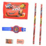 Set ceas, pentru copii, cu Fulger McQueen, portofel si rechizite cadou - 5018614