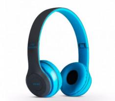 Casti bluetooth P47 Albastru cu microfon Radio, Aux, SD Card foto