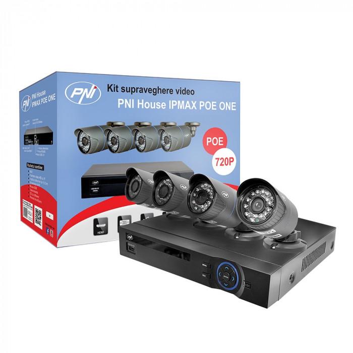 Resigilat : Kit supraveghere video PNI House IPMAX POE ONE 720P - NVR IP ONVIF si