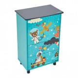 Cumpara ieftin Comoda Explore the universe U-Grow, 43 x 30 x 70, lemn, 4 sertare, Albastru