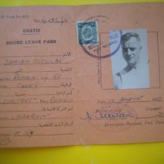 HOPCT SHORE LEAVE PASS-PERMIS MARINAR TRECERE PORT ALEXANDRIA EGIPT 1957
