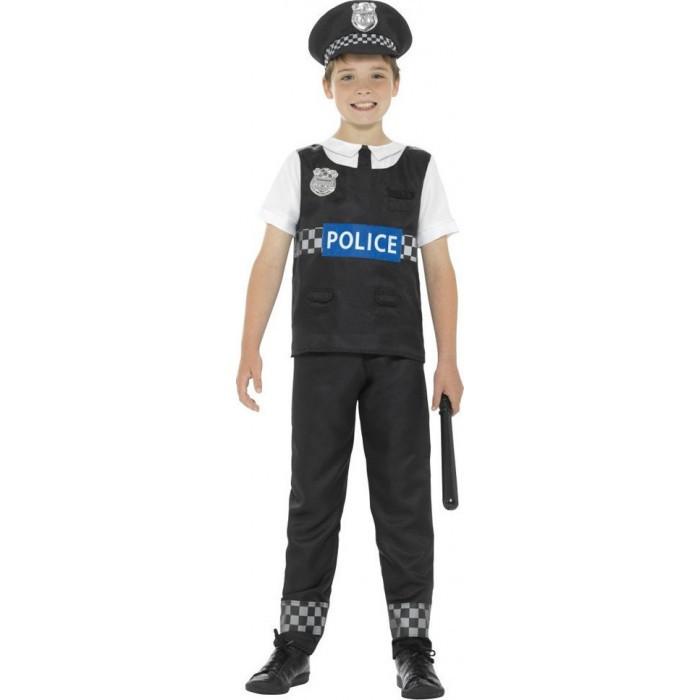 Costum Politist copii, Negru, 7-9 ani